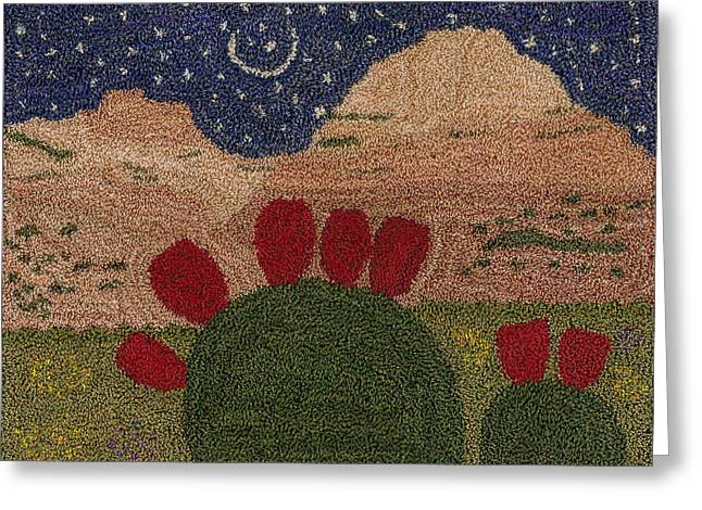 Pear Tapestries - Textiles Greeting Cards - Prickly Pear In The Moonlight Greeting Card by Jan Schlieper