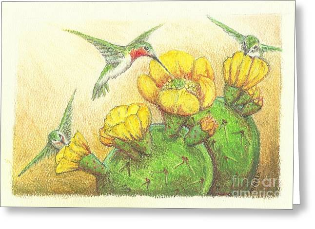 Green And Yellow Pastels Greeting Cards - Prickly Punch Greeting Card by Sue Bonnar