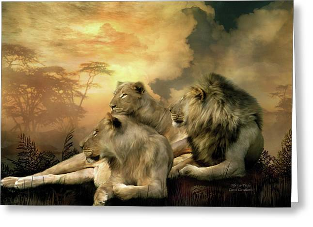 African Lion Art Greeting Cards - Pride Greeting Card by Carol Cavalaris