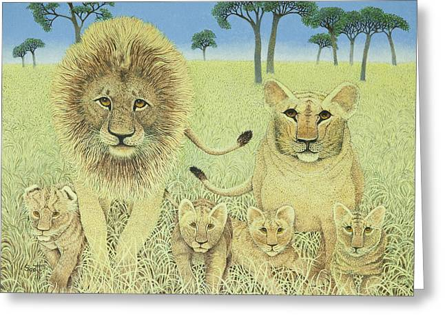Lioness Greeting Cards - Pride Greeting Card by Pat Scott