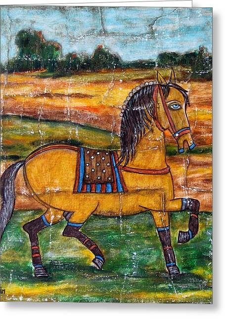 Mexican Horse Greeting Cards - Pride Greeting Card by Rain Ririn