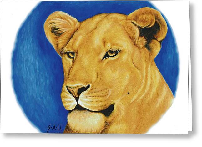 Lioness Drawings Greeting Cards - Prideful Glance Greeting Card by Sheryl Unwin