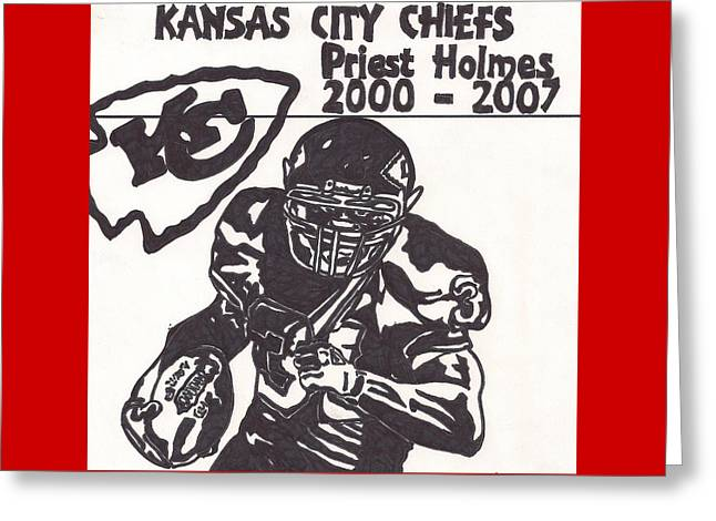 Kansas City Drawings Greeting Cards - Priest Holmes 1 Greeting Card by Jeremiah Colley