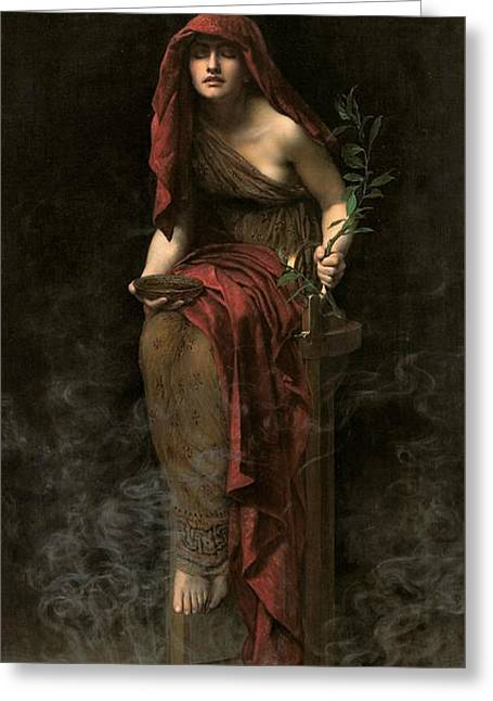 Collier Paintings Greeting Cards - Priestess of Delphi Greeting Card by John Collier
