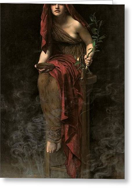Female Portrait Greeting Cards - Priestess of Delphi Greeting Card by John Collier