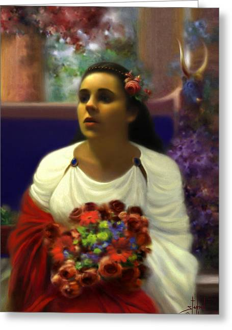 Portaits Mixed Media Greeting Cards - Priestess of the Floral Temple Greeting Card by Stephen Lucas
