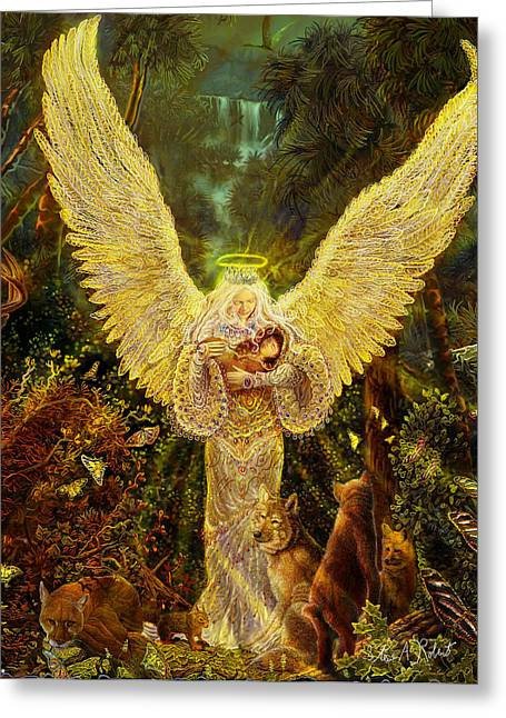 Angel Artwork Greeting Cards - Priestess Of The Woods-Angel tarot card Greeting Card by Steve Roberts