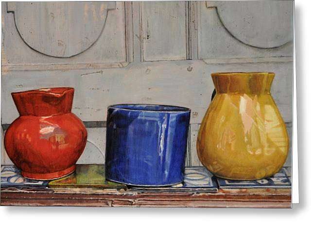 Pottery Pitcher Paintings Greeting Cards - Primary Colors Greeting Card by Melinda Jennings