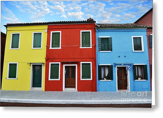 Boat House Row Greeting Cards - Primary Colors Too Burano Italy Greeting Card by Rebecca Margraf