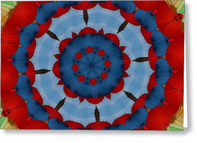 Geometric Style Greeting Cards - Primary Colours Parasol Kaleidoscope Greeting Card by Tracey Harrington-Simpson