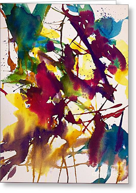 Primary Splatters Abstract  Greeting Card by Ellen Levinson