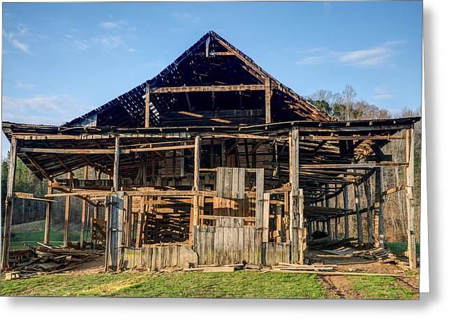 Primative Barn Being Dismantled Greeting Card by Douglas Barnett