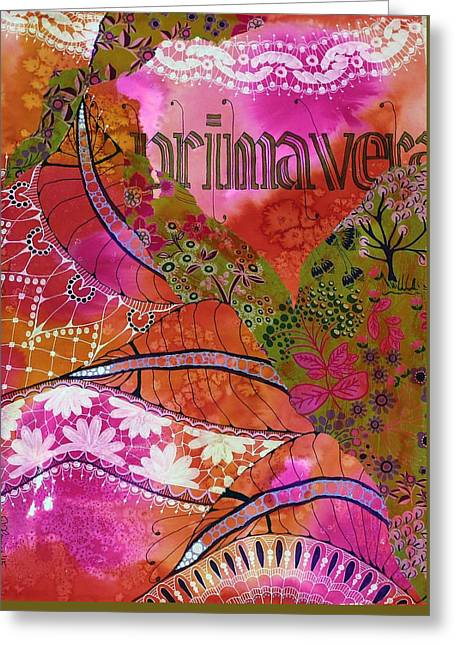 Europe Mixed Media Greeting Cards - Primavera Greeting Card by Jennifer Fleming