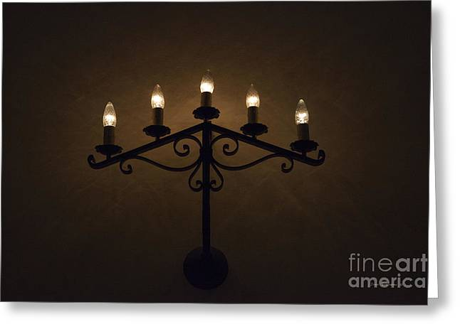 Candelabra Greeting Cards - Primitive Candelabra Mission Concepcion Greeting Card by John Stephens