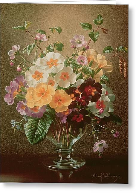 Red And Gold Leaves Greeting Cards - Primulas in a Glass Vase  Greeting Card by Albert Williams