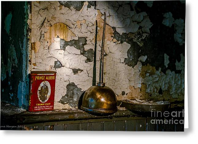 Industrial Background Greeting Cards - Prince Albert and His Can Greeting Card by Arne Hansen