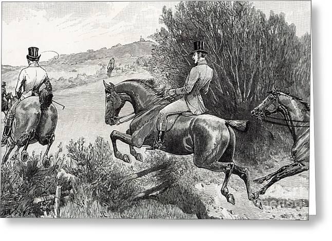 Prince Albert Hunting Near Belvoir Castle  Greeting Card by English School