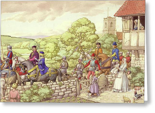 Prince Edward Riding From Ludlow To London Greeting Card by Pat Nicolle