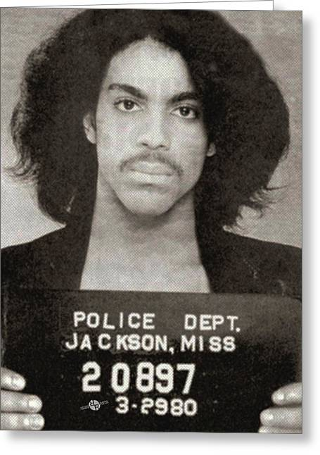 1990s Greeting Cards - Prince Mug Shot Vertical Greeting Card by Tony Rubino