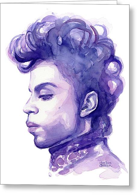 Prince Musician Watercolor Portrait Greeting Card by Olga Shvartsur