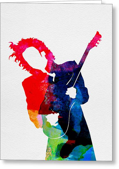 Pop Singer Greeting Cards - Prince Watercolor Greeting Card by Naxart Studio