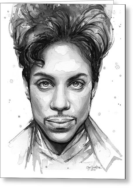 Prince Watercolor Portrait Greeting Card by Olga Shvartsur