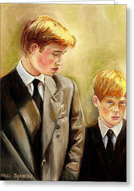 Kate Middleton Paintings Greeting Cards - Prince William And Prince Harry Greeting Card by Carole Spandau
