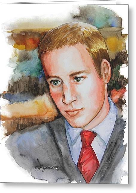 Kate Middleton Paintings Greeting Cards - Prince William Greeting Card by Patricia Allingham Carlson