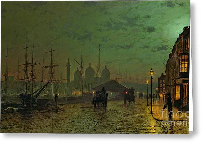 Grimshaw; John Atkinson (1836-93) Greeting Cards - Princes Dock Hull Greeting Card by John Atkinson Grimshaw