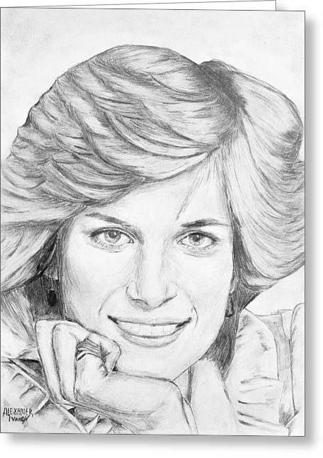 British Celebrities Drawings Greeting Cards - Princess Diana Greeting Card by Alexander Ivanov