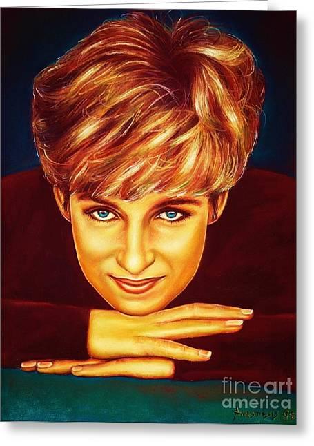 Squared Pastels Greeting Cards - Princess Diana  Greeting Card by Anastasis  Anastasi