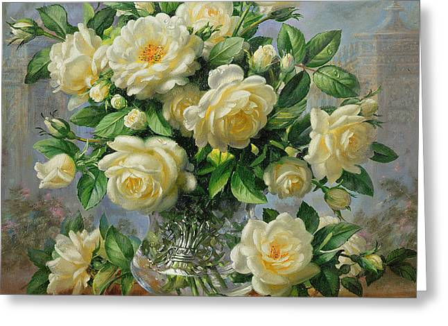Princess Diana Roses in a Cut Glass Vase Greeting Card by Albert Williams