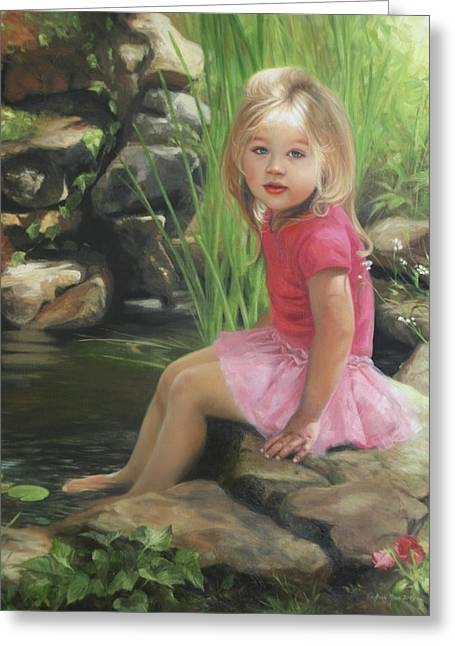 Tutus Paintings Greeting Cards - Princess in a Pond Greeting Card by Anna Rose Bain