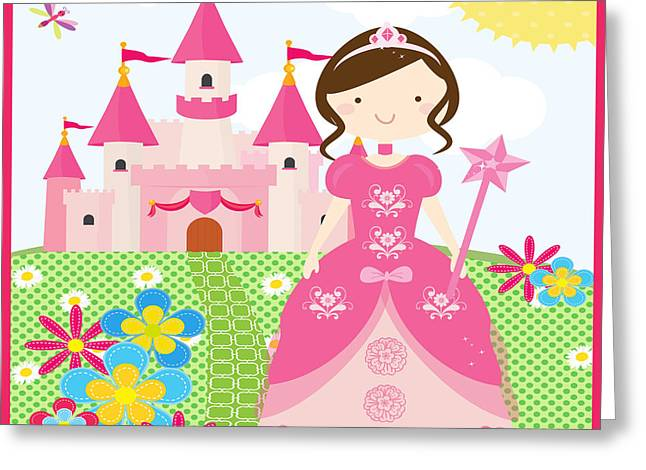 Flower Pink Fairy Child Greeting Cards - Princess-JP3009 Greeting Card by Jean Plout