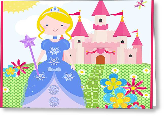 Flower Pink Fairy Child Greeting Cards - Princess-JP3211 Greeting Card by Jean Plout