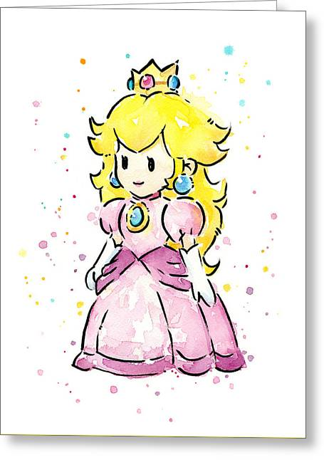 Peaches Greeting Cards - Princess Peach Watercolor Greeting Card by Olga Shvartsur