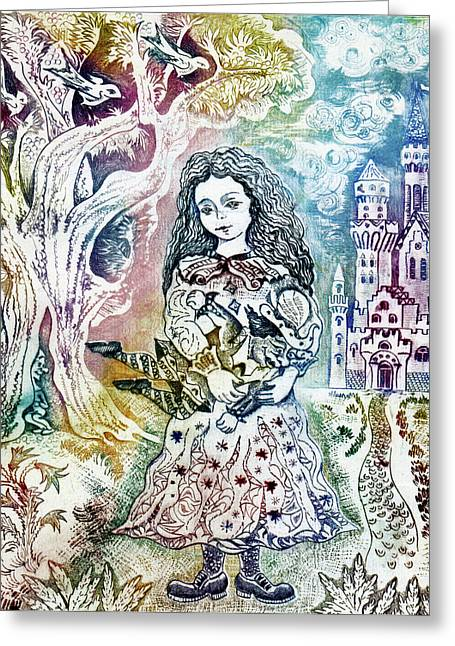 Castle. Birds Greeting Cards - Princess with doll Greeting Card by Milen Litchkov
