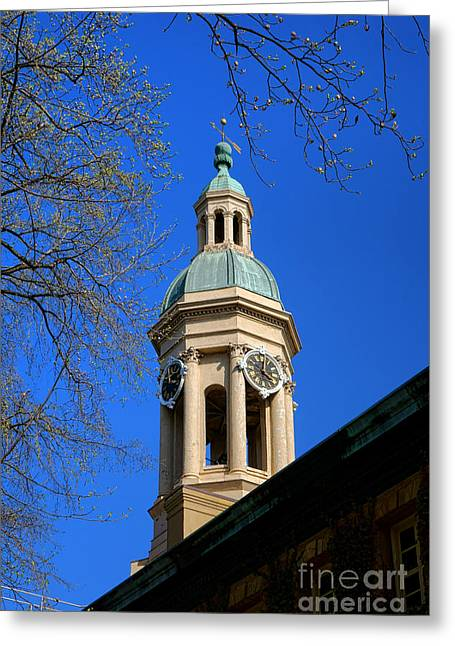 Cupola Photographs Greeting Cards - Princeton University Nassau Hall Bell Tower   Greeting Card by Olivier Le Queinec