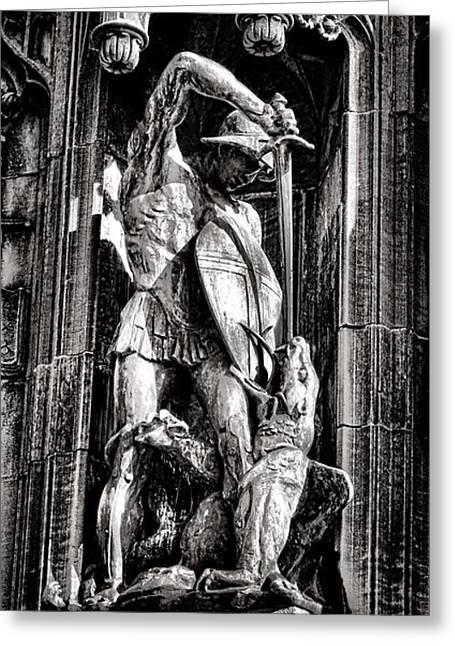 Saint George Greeting Cards - Princeton University Saint George and Dragon Sculpture Greeting Card by Olivier Le Queinec