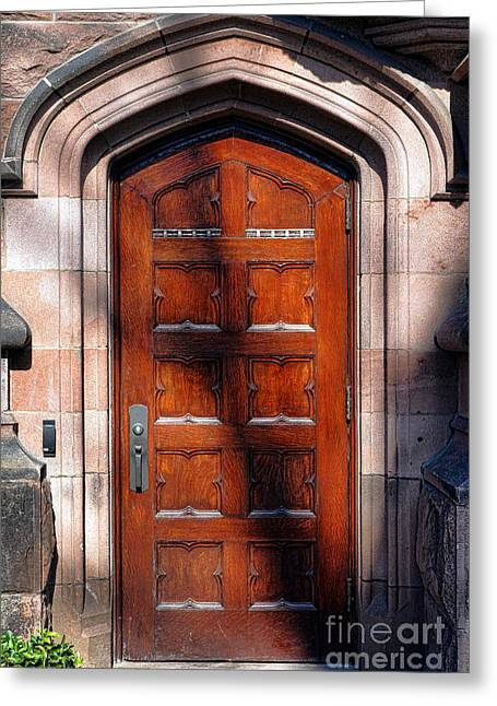 Princeton Greeting Cards - Princeton University Wood Door  Greeting Card by Olivier Le Queinec