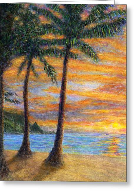 Coastal Decor Pastels Greeting Cards - Princeville Beach Palms Greeting Card by Kenneth Grzesik