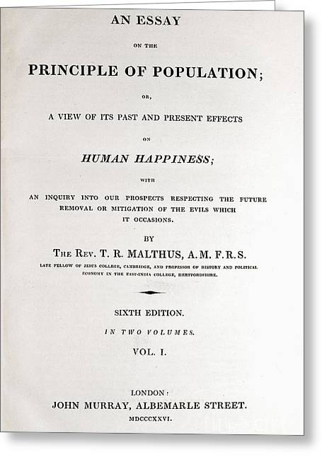 Principles Greeting Cards - Principle Of Population, Malthus, 1826 Greeting Card by Paul D. Stewart