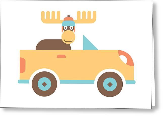 Moose Road Trip Greeting Card by Mitch Frey