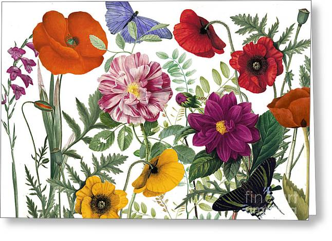 Painted Flowers Greeting Cards - Printemps Greeting Card by Mindy Sommers