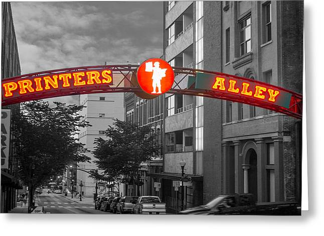Nashville Tennessee Greeting Cards - Printers Alley Sign Greeting Card by Robert Hebert