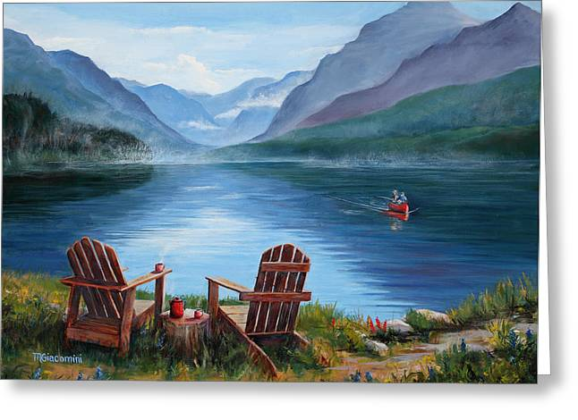 Canoe Paintings Greeting Cards - Priorities Greeting Card by Mary Giacomini