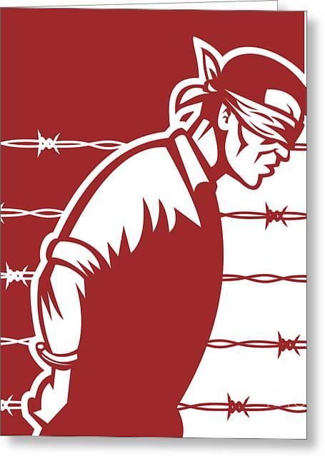 Concentration Digital Greeting Cards - Prisoner blindfolded Greeting Card by Aloysius Patrimonio