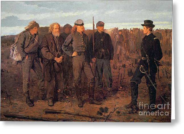 Confederate Greeting Cards - Prisoners from the Front Greeting Card by Winslow Homer