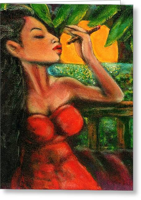 Cigar Paintings Greeting Cards - Private Celebration Greeting Card by Dennis Tawes