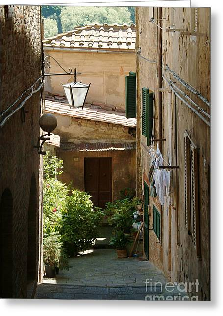 Sienna Italy Greeting Cards - Private Entrance Greeting Card by Georgia Sheron